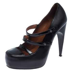 حذاء كعب عالي لانفان نعل سميك سير River جلد أسود مقاس 36.5