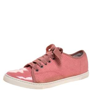 Lanvin Pink Python Effect Leather Lace Up Sneakers Size 38