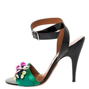 Lanvin Multicolor Patent Leather and Satin Sequin Flower Embellished Sandals Size 38