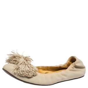 Lanvin Beige Fabric Raffia Bow Embellished Scrunch Ballet Flats Size 38