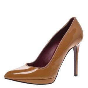 Lanvin Yellow Ochre Patent Leather Pointed Toe Platform Pumps Size 39