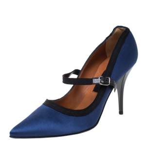 Lanvin Blue/Black Satin Mary Jane Pointed Toe Pumps Size 38