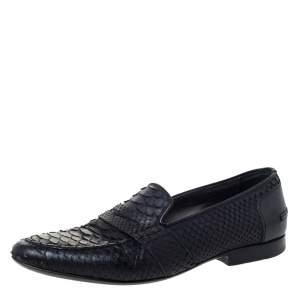 Lanvin Black Python Penny Loafers Size 40