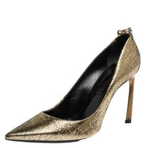 Lanvin Metallic Gold Textured Leather Pointed Toe Pumps Size 37.5