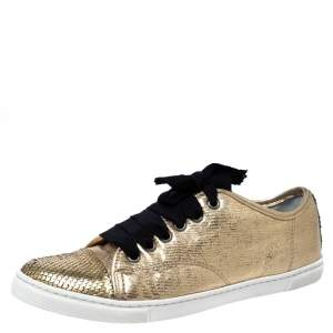 Lanvin Golden Python Embossed Leather Low Top Sneakers Size 38