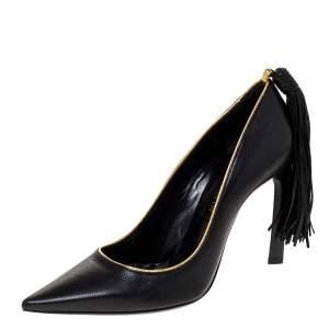 Lanvin Black Leather Tassel Embellished Pumps Size 36