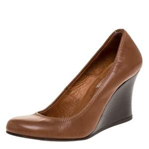 Lanvin Brown Leather Wedge Pumps Size 36