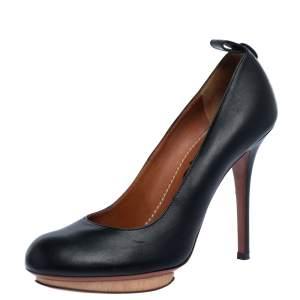 Lanvin Black Leather ETE 2010 Platform Pumps Size 37.5