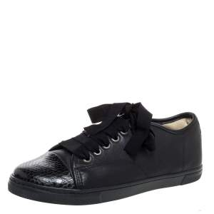 Lanvin Black Leather Lace Up Low Top Sneakers Size 37
