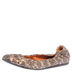 Lanvin Black/Beige Python Embossed Leather Scrunch Ballet Flats Size 39
