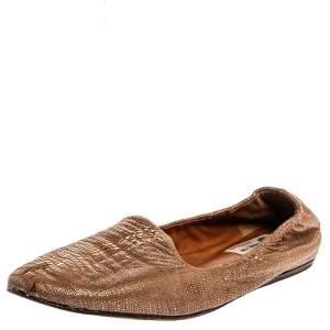 Lanvin Metallic Bronze Embossed Leather Smoking Slippers Size 38