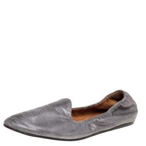 Lanvin Metallic Grey Embossed Leather Scrunch Smoking Slippers Size 36