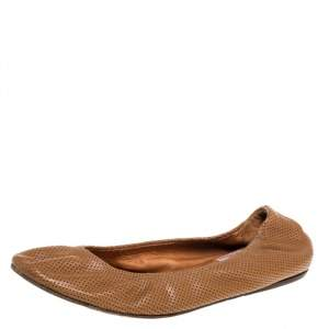 Lanvin Brown Perforated Leather Scrunch Ballet Flats Size 38