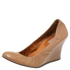 Lanvin Nude Beige Leather Scrunch Wooden Wedge Pumps Size 40