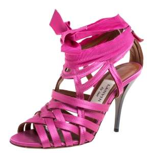 Lanvin Pink Satin Strappy Ankle Wrap Sandals Size 38