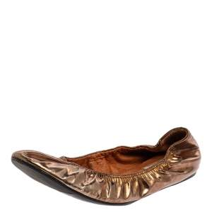 Lanvin Metallic Brown Leather Scrunch Ballet Flats Size 38.5