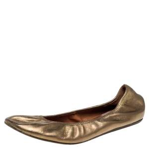 Lanvin Metallic Gold Leather Ballet Flats Size 40