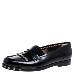 Lanvin Black Leather Fringe Loafers Size 39