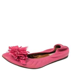 Lanvin Pink Leather Ballet Flats Size 40