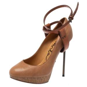 Lanvin Beige/Brown Leather Ankle Strap Platform Pumps 39