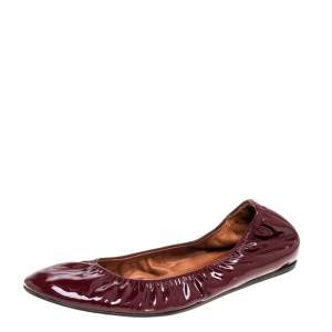 Lanvin Burgundy Patent Leather Scrunch Ballet Flats Size 42