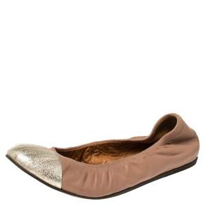 Lanvin Nude/Silver Leather Scrunch Ballet Flats Size 37