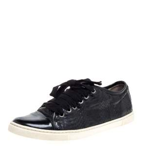 Lanvin Black Python Embossed Leather and Patent Leather Lace Up Sneakers Size 38