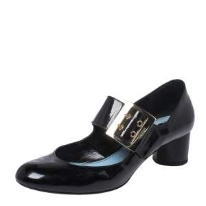 Lanvin Black Patent Leather Mary Jane Pumps Size 38