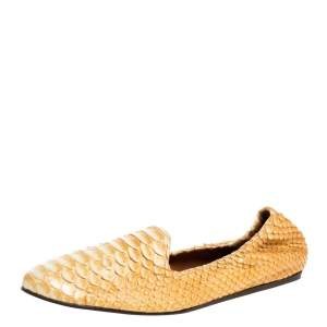 Lanvin Yellow Python Scrunch Smoking Slippers Size 40