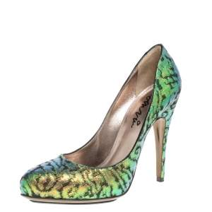 Lanvin Multicolor Shimmer Fabric Slip On Pumps Size 40