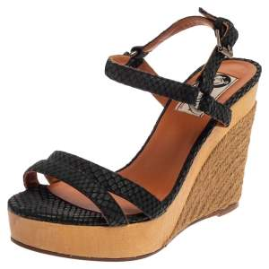 Lanvin Black Python Embossed Leather Strap Wedge Sandals Size 37