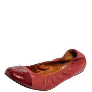 Lanvin Burnt Red Leather Ballet Flats Size 39.5