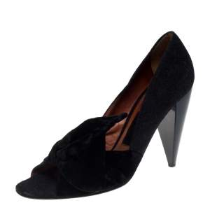 Lanvin Black Felt And Velvet Bow Embellished Open Toe Pumps Size 40