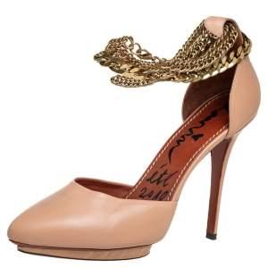 Lanvin Beige Leather Chain Ankle Strap D'orsay Platform Pumps Size 40