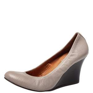 Lanvin Grey Textured Leather Scrunch Wedge Pumps Size 39