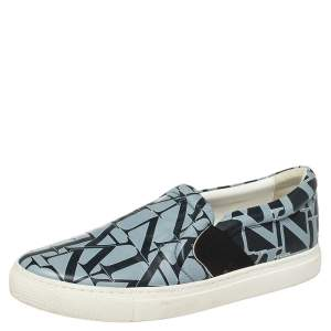 Lanvin Blue Logo Print Leather Slip On Sneakers Size 38