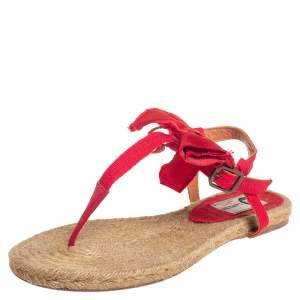 Lanvin Red Leather And Satin Bow Espadrille Thong Flat Sandals Size 39