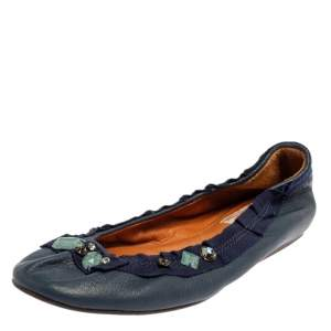 Lanvin Blue Leather/Fabric Embellished Ballet Flats Size 37