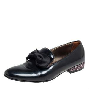 Lanvin Black Leather Bow Embellished Leather Loafers Size 39
