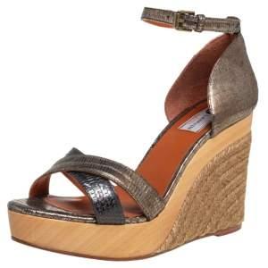 Lanvin Golden Metallic Leather Wedge  Sandals Size 39