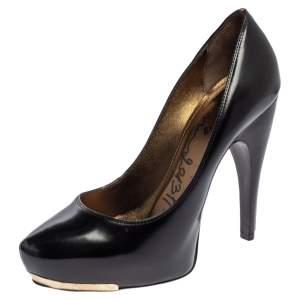 Lanvin Black Patent Leather Platform Pumps Size 37.5