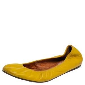 Lanvin Mustard Yellow Leather Scrunch Ballet Flats Size 38.5