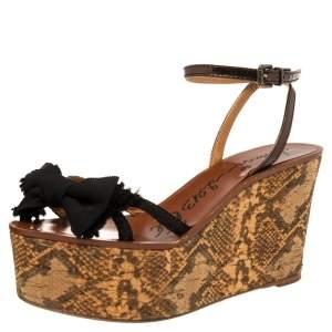 Lanvin Metallic/Black Canvas and Leather Bow Python Print Platform Wedge Sandals Size 39
