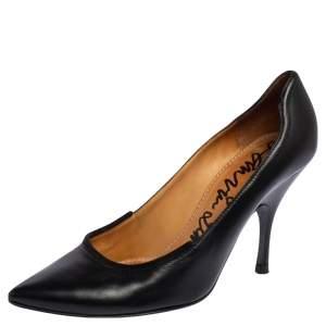Lanvin Black Leather Pointed Toe Pumps Size 39.5