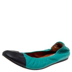 Lanvin Blue Leather Scrunch Ballet Flats Size 37.5
