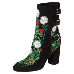 Laurence Dacade Black Flower Embroidered Canvas Ankle Boots Size 40.5