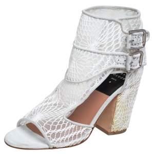 حذاء بوت لورانس ديكاد مقدمة مفتوحة قصة ماكرام راش سويدي ودانتيل أبيض مقاس 36