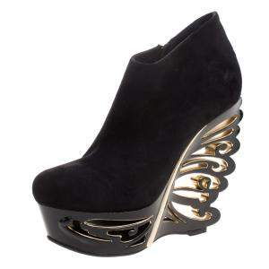 Le Silla Black Suede Butterfly Wedge Booties Size 40