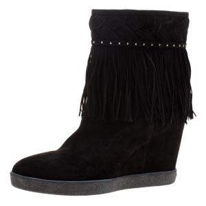 Le Silla Black Suede Concealed Fringed Wedge Boots Size 37.5
