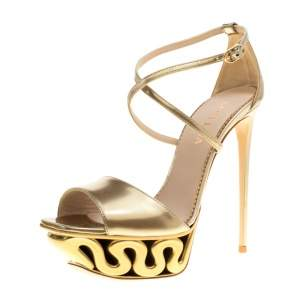 Le Silla Metallic Gold Leather Venus Cross Strap Platform Sandals Size 40